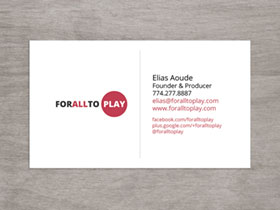 For All To Play Business Card - Preview